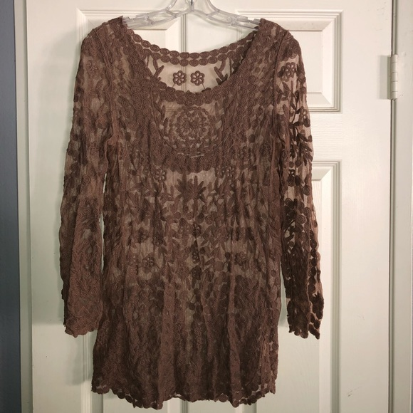 Brown Lace Cover Up